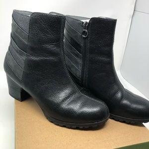 Jambu Amal Black Grey Leather Ankle Boots 7 M